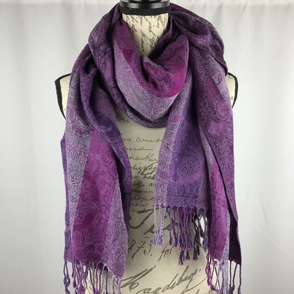 Purple and paisley scarf